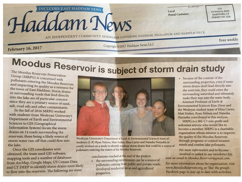 Moodus Res GIS group in newspaper